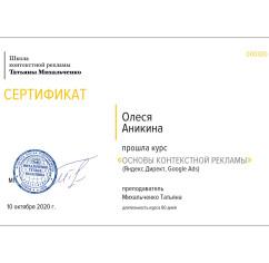Сертификаты Аникина Олеся
