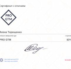 Сертификаты Алена Терещенко